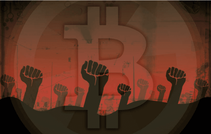 Red BTC background with black fists in the air