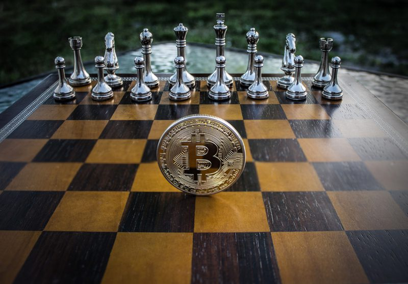 Bitcoin on chess board