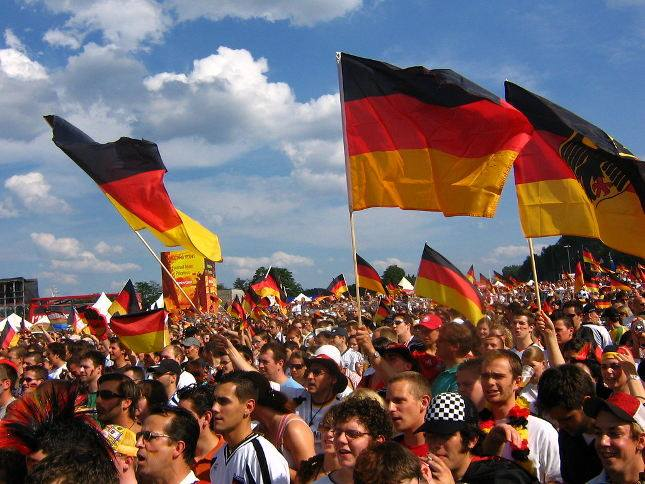 German flags crowd