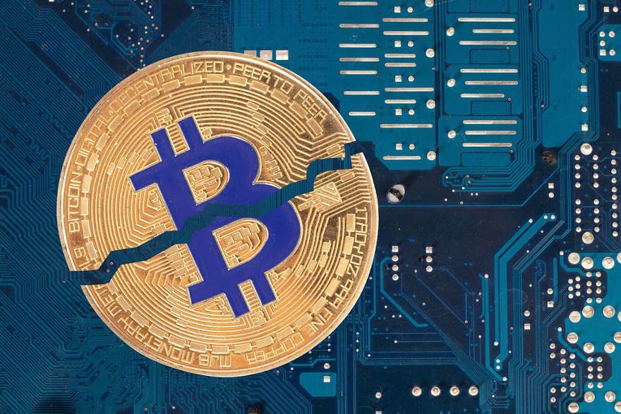 Bitcoin divisant par deux le bleu