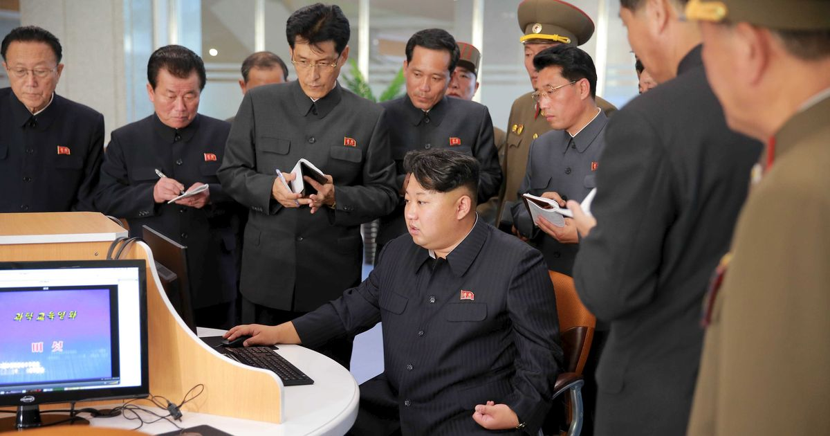 Kim Jong-un hacking with his crew