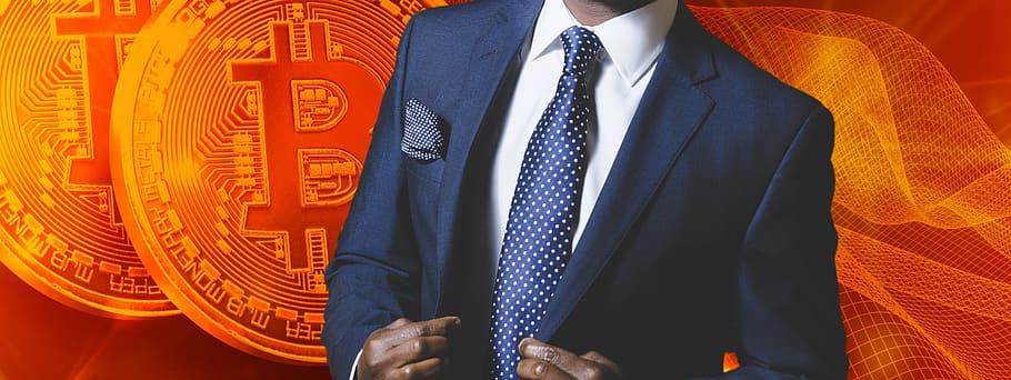 Investor with orange BTC background