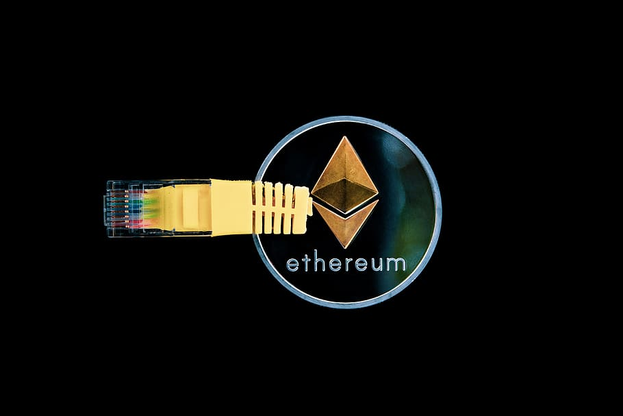 Ethereum logo with USB